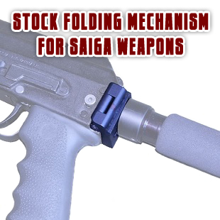 Stock folding mechanism for Saiga weapons